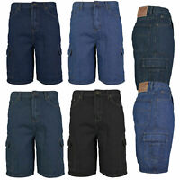 Men's Premium Cotton Multi Pocket Relaxed Fit Stonewash Denim Jean Cargo Shorts