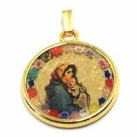 Anhänger Medaille, Glas Murano, Arbeiten Blatt Gold, Jungfrau Maria Und Jesus'
