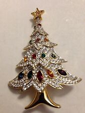 Swarovski Elegant Christmas Tree Pin Brooch Signed - GORGEOUS! - New