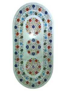 Marble Restaurant Table Top Semi Precious Stone Office Table with Floral Design