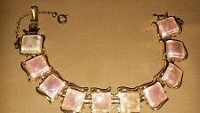 VINTAGE CORO BRAND PINK STONES W IRRIDESCENT GLITTER IN GOLDTONE LINKS SAFETY CL