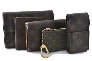 Louis Vuitton Monogram Mini Wallet Coin Case Pass Case Cigarette Case 5Set E0559