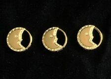 """Moon Charms Celestial Crescent Goldtone Floating 1"""" with Rhinestones Lot of 3"""