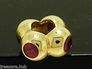 s Bd037- GENUINE 9K 9ct 375 Solid Gold NATURAL Ruby Bead Charm 4 lights