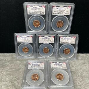 2009 UNC LINCOLN BICENTENNIAL PENNY SET OF 7 PCGS MS65 RD