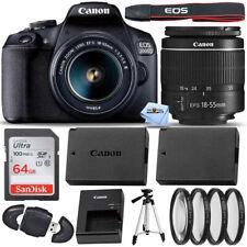 Canon EOS 2000D / Rebel T7 with EF-S 18-55mm III Lens + 64GB + EXT BATT Bundle
