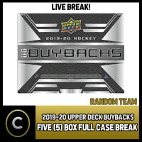 2019-20 UPPER DECK BUYBACKS HOCKEY 5 BOX (FULL CASE) BREAK #H613 - RANDOM TEAMS