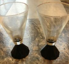 Bar Glasses, Set Of 2,  Clear Glass With Black Base,  Modern, Double Shot, NOS