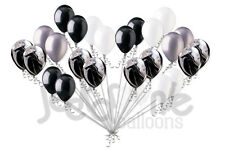 24 pc Sophisticated Black & White Agate Latex Balloons Party Decoration Wedding