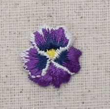 Iron On Embroidered Applique Patch Pansies Flower Small/Mini Pansy Violet