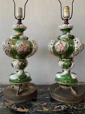 Lamps Lovely Pair Antique Porcelain Painted Decorated Lamps Pastoral Figures Antiques