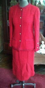 Vintage Chanel Boutique 2 Pc Red Suit Size 38 European