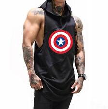 Men Fitness Joint American Captain Shoulder Sleeveless Hoodie in Black/White