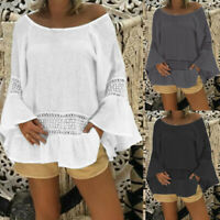 Womens Summer Round Neck Backless Long Sleeve Lace Casual Blouses Shirt Tops