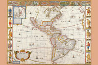 Antique Map of the New World 1626 Poster 12x18 inch Poster - 12x18