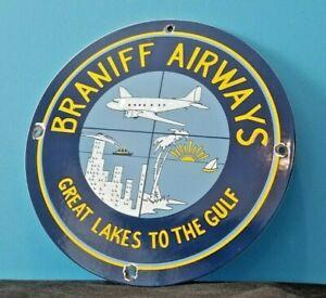 VINTAGE BRANIFF AIRWAYS PORCELAIN GAS AVIATION AIRPLANE SERVICE SALES SIGN