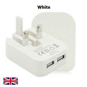 Universal (3 PIN) Dual USB Port Foldable Mains Wall Plug 2Amp Fastest Charger UK