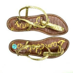 Sam Edelman Womens Gigi Thong Sandal Gold Boa Buckle 7.5 M