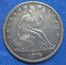 1876 50C Liberty Seated Half Dollar Silver Coin Type 5 With Motto