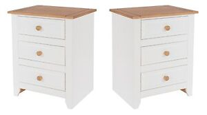 Bedside Cabinets Pair Solid Wood 3 Drawers Table White Painted Solid Pine Avalon