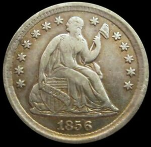 1856 SILVER UNITED STATES SEATED LIBERTY HALF DIME VERY FINE CONDITION