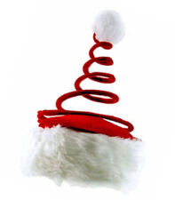 Santa Hat with Coil Spring - Red Holiday Xmas Christmas Cap - US Seller - New