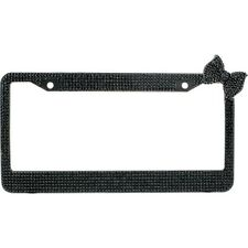 Black 7 Rows Bling Diamond Crystal License Plate Frame With Corner Black Bow Tie
