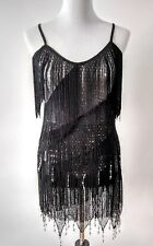 Flapper Style S/M 2 Piece Outfit/Costume Black Fringe Silver Beads Sequins