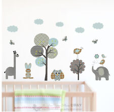 Safari Animals Trees Wall Decal Removable Stickers Kids Nursery Boys Room Decor