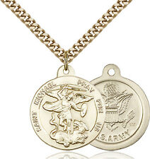 14K Gold Filled St Michael Army Military Soldier Catholic Medal Necklace