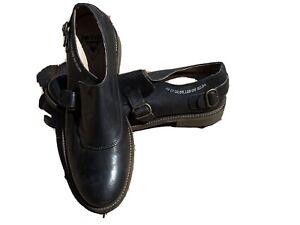 Mens John Fluevog Shoes 11 Black Strap Buckle