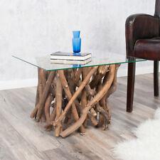Couchtisch Indo Drift 60x60cm Teakholz Temperglas Natural modern Sofatisch