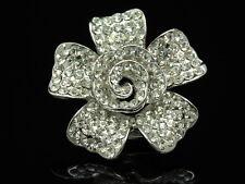 Sparkly clear Austrian Ab crystal rose flower silver plate Brooch scarf clip D05