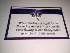 10 Poem Cards - Purple - Dragonfly Charm - Requesting Cash for Honeymoon