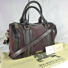 Authentic Burberry Alchester Brown Suede Medium Bowling Shoulder Tote Handbag