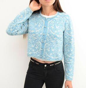 Women's Oleana of Norway Cardigan Sweater Espeland 5267 White Blue Size M Wool