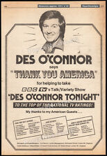 DES O'CONNOR TONIGHT__Original 1979 Trade print AD / TV promo__BBC Talk Show