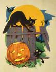 Halloween Cats on Fence Moon Light Jack O Lantern vintage art