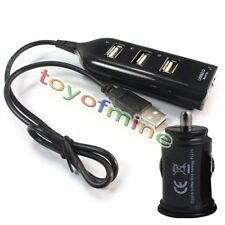 4 Port USB Hub Sock Outlet +Dual USB Charger Power Adapter for GPS Pad Phone PDA