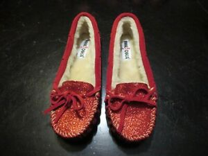 MINNETONKA Mocassin sz 9 Red Suede Leather Sparkle Glitter Faux Fur Slippers NEW