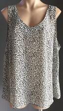 SUZANNE GRAE White & Black Cheetah Print Split Front/Back Twin Set Plus Size 18