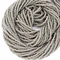 12//0 Opaque Grey Czech Seed Bead #CSH076 Hank