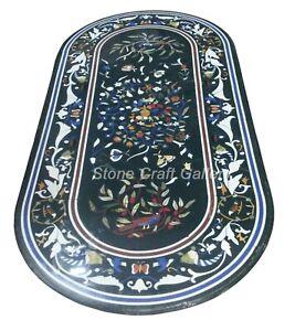 "60"" x 32"" Marble center Table top Inlay semi precious stones pietra dura art"