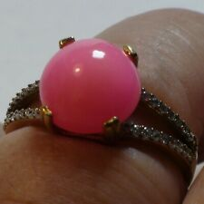 BEAUTIFUL! NATURAL 3.11 ct  ETHIOPIAN PINK OPAL RING 925 STERLING SILVER.9.0