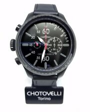 Chotovelli Military Pilot Men Watch Black Chronograph dial Italian Leather 52.13