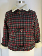 NEW Aviva Plaid Jacket Sherpa Trim Checkered Coat Junior Plus sz 1X 2X 3X