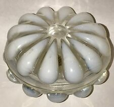 FENTON Glass Teardrop White Opalescent Round Trinket Jewelry Box Signed Label