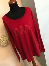 """Designer GAP Top Size XL Pit To Pit 22.5"""" Long Sleeve Red Excellent Condition"""