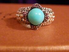 Barbara Bixby Ring,SS & 18k,Turquoise & Rhodolite Garnets,Size 6