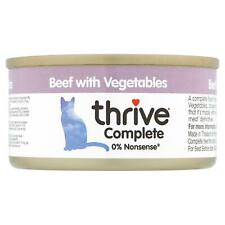 thrive Wet Cat Food Beef with Vegetables - 100% Natural Meat Complete Tin - 75g